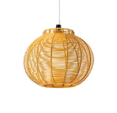 LUSSIOL KORBA - Lámpara Colgante de ratán, 60 W, Color Amarillo, 30 x 24 cm
