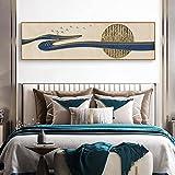 Resumen líneas doradas luz azul lujo pintura decorativa china dormitorio principal mesita de noche colgante de pared pintura banner 30x120 CM (sin marco)