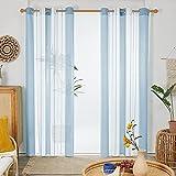 Deconovo Cortinas Tansparentes, de Diseño Moderna Rayas, Visillos, para Habitación Dormitorio, con Ojales, 140x245cm(Ancho x Alto), Azul Claro, 2 Piezas