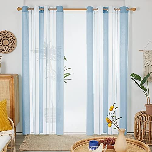 Deconovo Cortinas Salón, Visillos, Transparentes Modernas Rayas, para Dormitorio Decorativo, con Ojales, 140x229cm(Ancho x Alto), Azul Claro, 2 Piezas