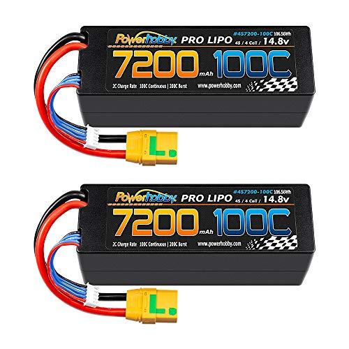Powerhobby 4s 14.8v 7200mah 100C-200C Lipo Battery w XT90 Hard Case (2 Pack) 4-Cell FITS : Arrma Kraton Tyhpon Senton Tailon Outcast FAZON