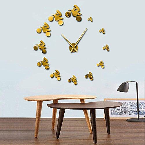 Reloj de pared gigante para moto de cross, para deportes extremos, sin marco, grande, de 37 pulgadas