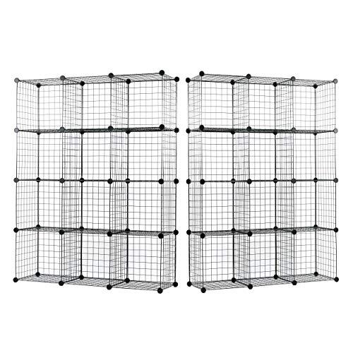 UNICOO - 1414 Inch Big Cube Multi Use DIY 12 Cube Wire Grid Organizer, Bookcase, Bookshelf, Storage Cabinet, Wardrobe Closet,Toy Organizer, Wire Cube Storage- (Black Wire-Set of 2)