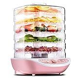 Dswe Deshidratador de Alimentos, Frutas, Verduras, Hierbas, Carne, máquina de Secado, Aperitivos para Mascotas, secador de Alimentos con 5 bandejas, 220 V, Rosa, Blanco
