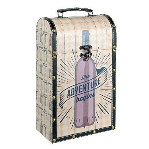 Caja Decorativa para Botellas de Vino de Madera Adventure Begins. Botelleros. Cajas Multiusos. Menaje de Cocina. Regalos Originales. 21 x 11,50 x 36 cm.