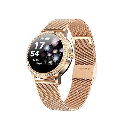 YCheng Smartwatch Damas Smart Watch LW20 Pantalla Táctil Impermeable Redonda con Monitor De Ritmo Cardíaco Función Fisiológica Femenina Función De Moda Deportes Pulsera (Color : Steel Gold)