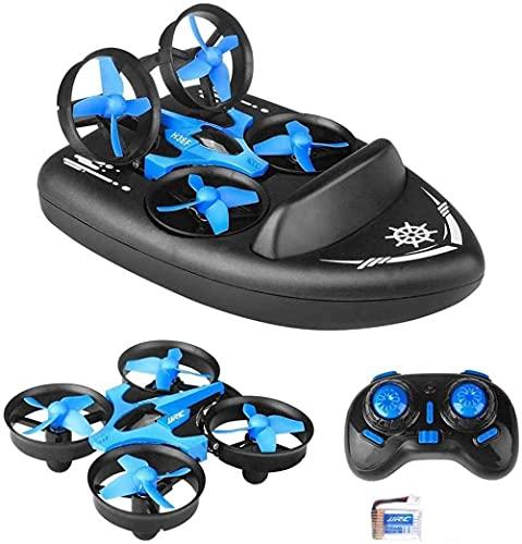 2 4G Quadcopter 3 en 1 Mini RC Drone Control remoto Coche/Barco/Quadcopter Modo con 360° Flips Stunt Modo sin cabeza Simulación Hovercraft para niños Regalos Vuelo/Tierra/Agua Modo