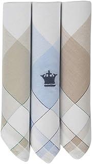 Louis Philippe Men's Cotton Handkerchief with Colour Border Brand Logo (Multicolour, 46 x 46) Pack of 3