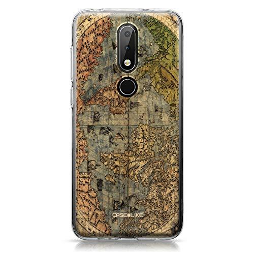 CASEiLIKE Nokia 6.1 Plus Hülle, Nokia 6.1 Plus TPU Schutzhülle Tasche Case Cover, Weltkarte Weinlese 4608, Kratzfest Weich Flexibel Silikon für Nokia 6.1 Plus