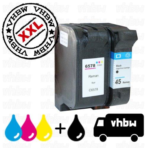 vhbw Set 2x cartucce a inchiostro di ricambio e compatibile con Stampante HP DeskJet 1220c, 1220cse, 1220cxi, 1280, 6122, 6127, 9300, 930c, 930c, 932c