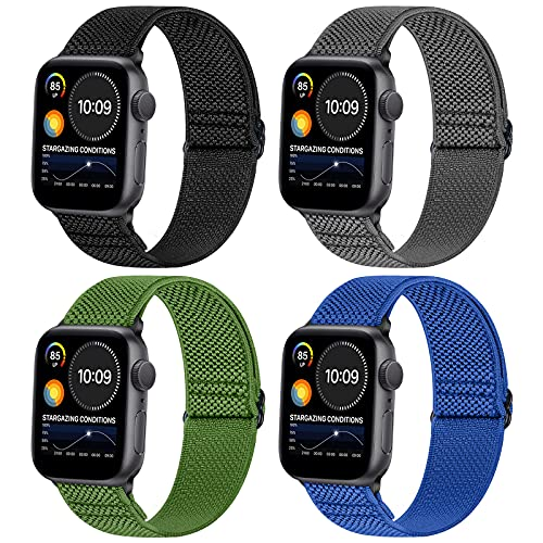 WNIPH Correa elástica de repuesto Solo Loop compatible con Apple Watch 42 mm 44 mm, elástica, ajustable, de nailon, correa de reloj de pulsera para iWatch Series 6/SE/5/4/3/2/1