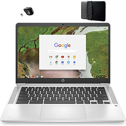 2021 Newest HP 14 inch FHD IPS 1080p Laptop Computer Chromebook Intel Celeron N4020 (Beat i3) Upto 2.8 GHz 4GB DDR4 RAM 64GB eMMC Chrome OS Google Classroom and Zoom Ready VGSION Bundle Accessory