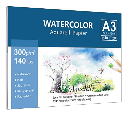 Premium Aquarellpapier (A3, 300 g/m², 10 Einzelne Blätter), Kaltgepresst Glatt Watercolor Paper, Matt Aquarell Papier für Aquarellmalerei Wasserfarben Gouache Acryl & Aquarelltechniken