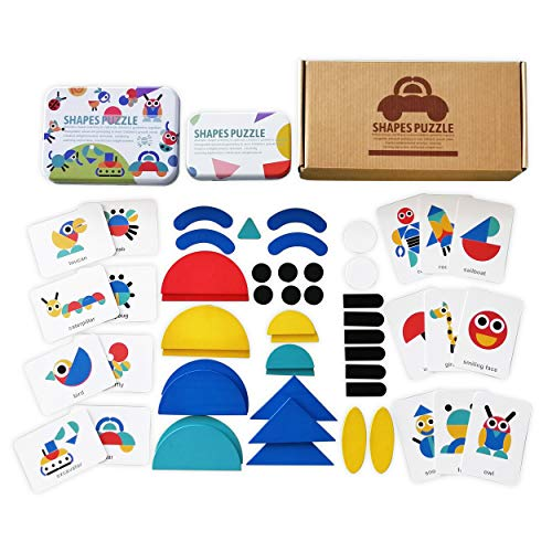 Montessori Toys for Toddlers 3 Year Old Boys Girls - Educational Shapes Puzzle for Kids - 36 Pieces of Wooden Pattern Blocks Sorting Stacking Puzzles with 50 Picture Cards in Colorful tin Boxes