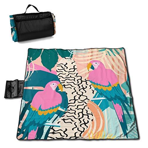 Póster de hojas tropicales de la selva y flores con manta de picnic de loros, manta de picnic al aire libre, lavable, plegable, impermeable para picnic, camping, playa, tamaño grande de 57 x 59 pulgadas