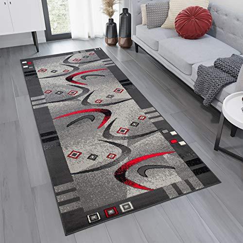 TAPISO Dream Läufer Flur Teppich Kurzflor Modern Brücke Grau Creme Rot Streifen Viereck Bumerang Muster Wohnzimmer ÖKOTEX 80 x 200 cm