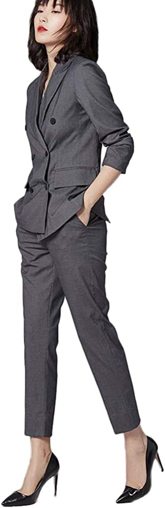 Women's 2 Pieces Double Breasted Office Lady Business Suit Set