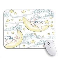 ROSECNY 可愛いマウスパッド パターンかわいい睡眠バニームーンおかしい白い動物秋の滑り止めゴムバッキングコンピュータマウスパッド用ノートブックマウスマット