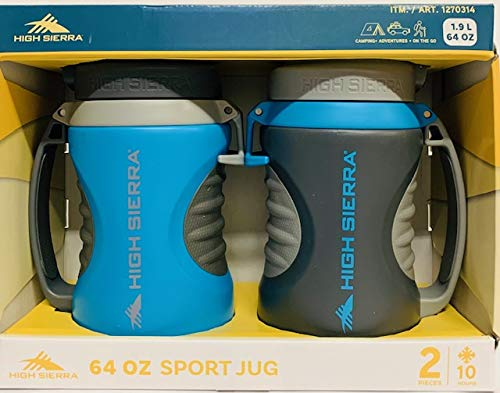 na1 High Sierra 1.89 L (64 oz) Sport Jugs, Double Walled Insulation,2-Pack Blue/Gray