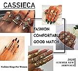 CASSIECA 53 PCS Vintage Or Phalange Bague pour Femmes Filles Empilable Doigt Strass Joint Bague Set Boheme Bijoux