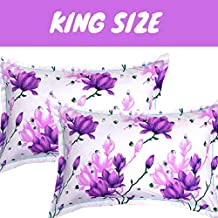 "BSB Trendz 2 Piece Cotton King Size Pillow Cover Set - 20""x30"" Color-Multicolor (White & Purple…)"