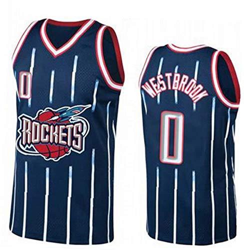 ATI-HSKJ NBA Basketball Maglie, Houston Rockets Russell Westbrook 0# Maglie Respirabile Freddo Tessuto Swingman Maniche Canotta Abbigliamento,XL(180~185cm/85~95kg)