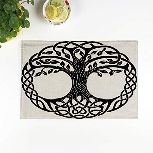 rouihot Set of 4 Placemats Knot Celtic Tree of Life Roots Round Black White Non-Slip Doily Place Mat for Dining Kitchen Table