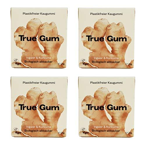 True Gum 4er SET: Ingwer & Kurkuma   Plastikfreier Kaugummi   Biologisch Abbaubar   Vegan   4 x 21g,...
