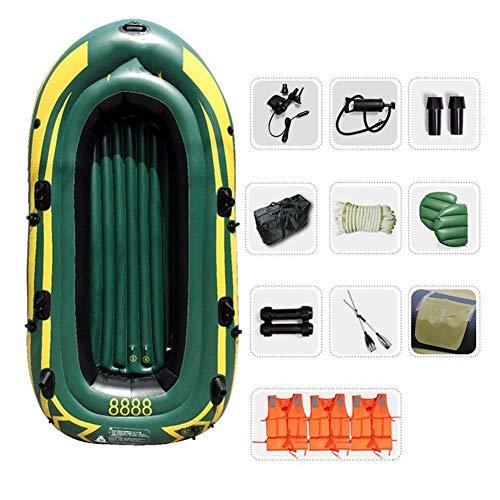 WNN Flotador del Barco del Agua Pro-Series Canoa del kajak Inflable Pesca 4 Persona ambientado con remos (Verde del ejército) URG