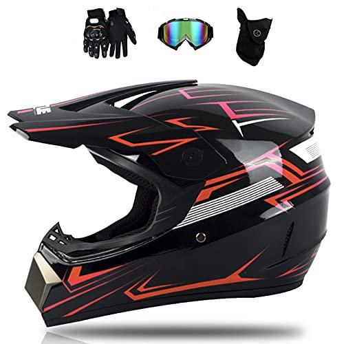 VOMI Downhill de Moto Casco Casco de Moto Cross Adulto Unisex Casco Off-Road Set con Máscara Guantes Gafas, Casco de Motocross para Niño Go-Kart-Helmet ATV Quad MTB Casco Racing,Rojo,M