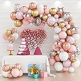 Guirnaldas de Globos Oro Rosa, 82 Piezas Kit de Arcos de Globos Rosa, Globos de Látex con Confeti Oro Rosa Marino para Niños Niñas Cumpleaños Baby Shower Aniversario Fiesta de Decoraciones