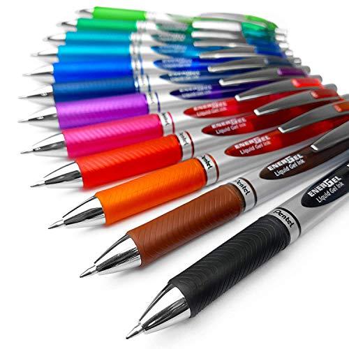 Pentel EnerGel XM BL77 - Penna a scatto con inchiostro gel liquido, 0,7mm, 52% riciclata, confezione da 12, vari colori