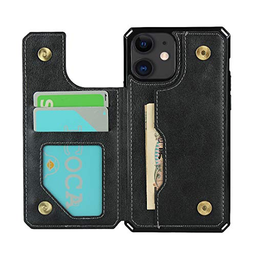 "WintMing Compatible with iPhone 12 Mini 5.4"" 5G Wallet Case 4 Card Holder Folio Flip Leather Case with Kickstand Shockproof Protective Cover for 12 5.4 5G"
