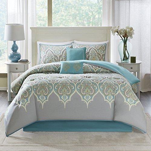 Comfort Spaces Cozy Comforter Set-Modern Classic Design All Season Down Alternative Bedding, Matching Shams, Bedskirt, Decorative Pillows, Queen (90x90), Mona, Cotton Paisley Grey/Teal