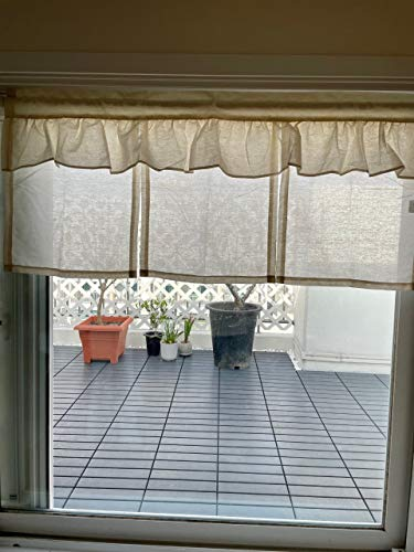 Handgefertigter Baumwollvorhang, Vorhang für die Küche, Rustikal, europäisches Mtong, Fenstervorhang für Zuhause, 50 (W) aus einem Stück X110 (L) cm-Paperbaker