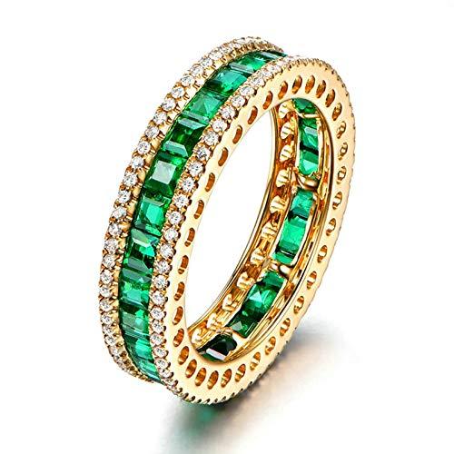 Beydodo Anillos de Compromiso Mujer Oro Amarillo 18K Redondo Esmeralda Verde 3.5ct con Diamante 0.45ct Talla 18,5