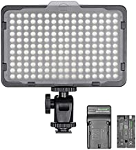 Neewer Dimmable 176 LED Video Light on Camera LED Panel with 2200mAh Li-ion Battery and Charger for Canon, Nikon, Samsung, Olympus and Other Digital SLR Cameras for Photo Studio Video Photography