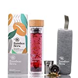 Bamboo Brew Glass Travel Tumbler with Infuser & Strainer 16oz | Borosilicate Glass Coffee & Tea...