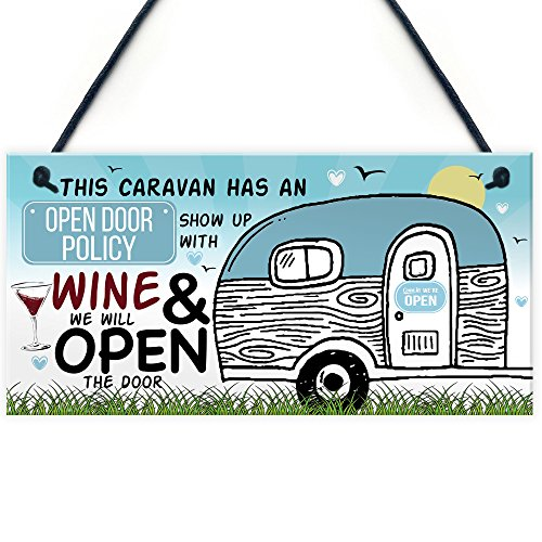 RED OCEAN Open Door Policy Caravan Hanging Plaque Novelty Funny Shabby Chic Camping Holiday Alcohol Sign Gifts