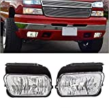 HECASA Pair Bumper Fog Lights Lamps W/Bulbs Left & Right/ Driver & Passenger Compatible with 2003-2006 Silverado Avalanche Replacment for 15190983 15190982 GM2593127 GM2592127