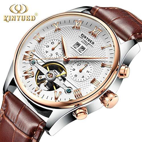 JohnJohnsen Reloj de Negocios de Alta Gama a Prueba de Agua Impermeable Tourbillon-Hollow Reloj mecánico automático Calendario Dual Reloj Casual para Hombres (Blanco)