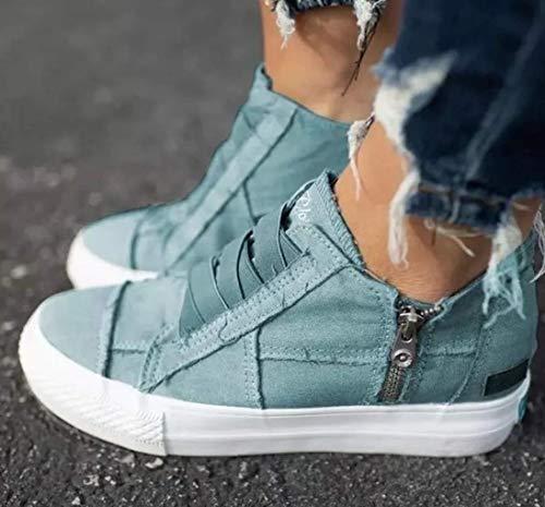 Scarpe Piane Tela delle Donne, la Fascia Elastica Espadrille Scarpe Scivolare su Zipper Walking Predellino Sneaker Casual Fannullone Scarpe Infermiere per Ragazze,Blu,35