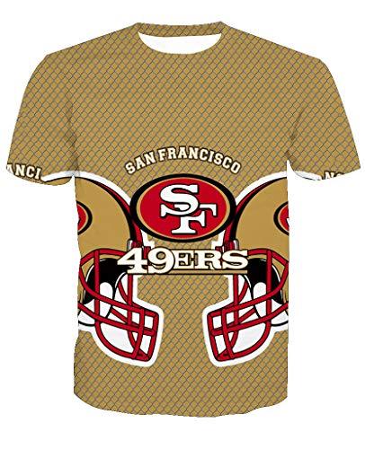 Männer 3D T-Shirt San Francisco 49ERS SF NFL Fußball Team Uniform Muster Digitaldruck Liebhaber Shirt(L,Khaki)