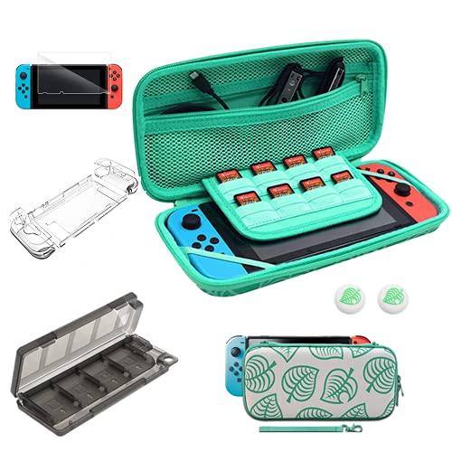Tasche für Nintendo Switch, Animal Crossing Switch Zubehör Set, Tragbare Animal Crossing Aufbewahrungshülle mit Handschlaufe für Nintendo Switch, staubdicht, stoßfest Mit Zubehör