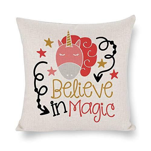 None Brand Believe In Magic Funda de cojín con diseño de unicornio, lino rústico decorativo, funda de almohada lumbar decorativa para silla, habitación, sofá, coche, decoración del hogar, regalo de inauguración de la casa, 45,7 x 45,7 cm