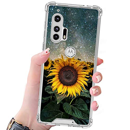 Sunflower Moto Edge Plus Case for Women Girls,Durable PC Back/Clear Soft TPU Bumper,Reinforced Corners Shockproof Protective Phone Case for Moto Edge Plus 6.7 Inch 2020(Not for Moto Edge)