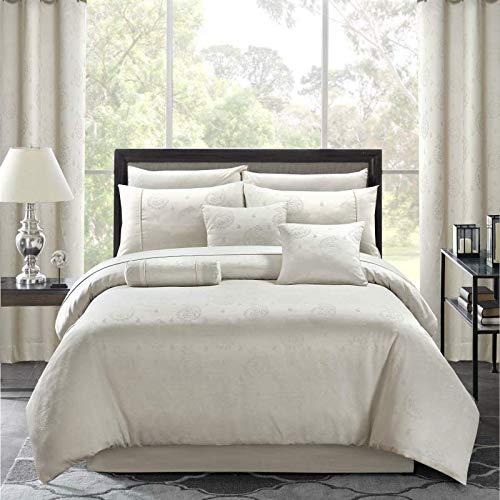 Jacquard Weave Cotton Rich Fancy Duvet Cover Set (Cream, Double)