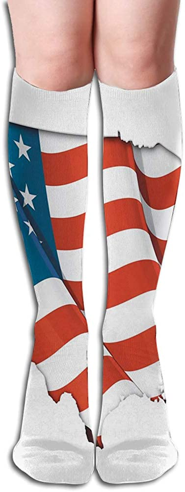Men's and Women's Funny Casual Combed Cotton Socks,Graphic United States Flag American Federations Star Symbol Print