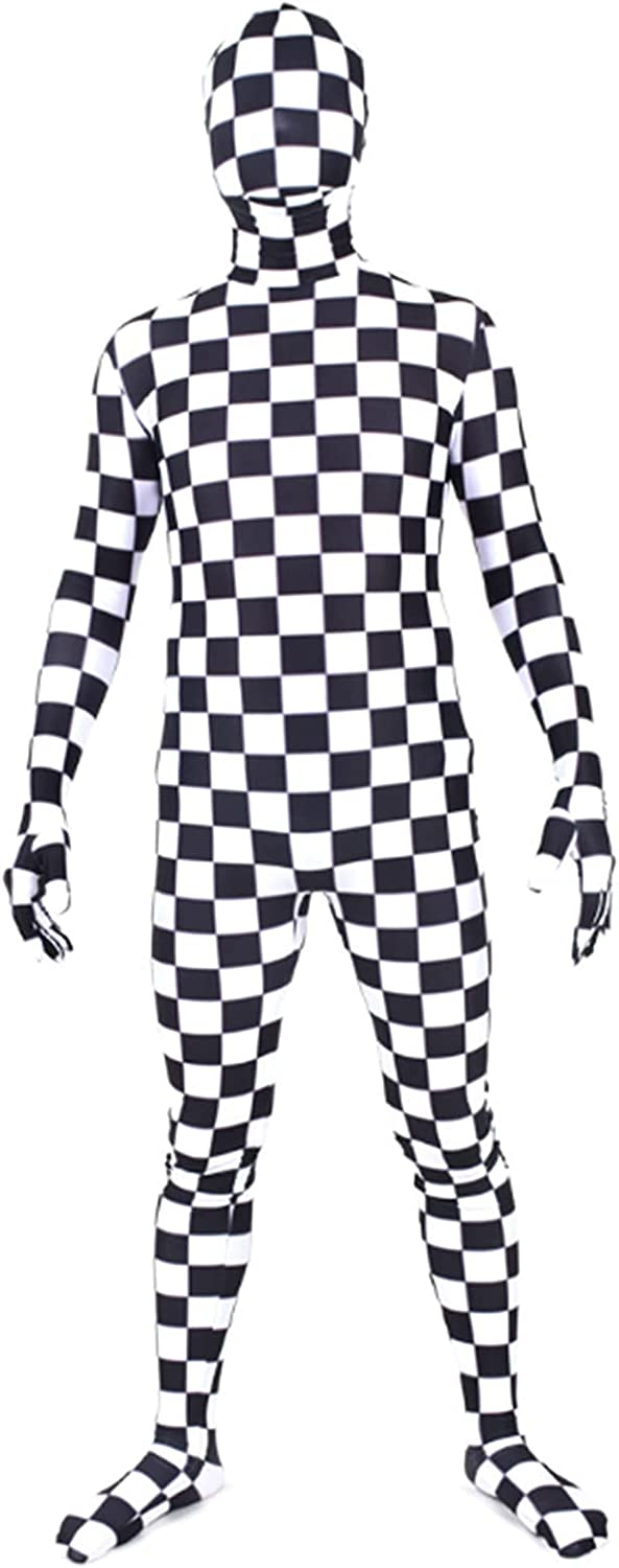Unisex Black and White Check Fancy Costume Adult Don't miss the campaign Bodysuit B Full Our shop OFFers the best service