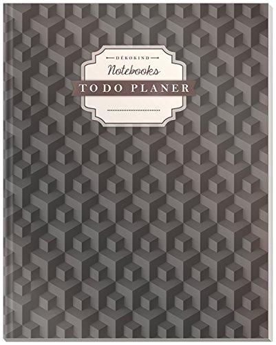 DÉKOKIND To Do Planer | DIN A4, 100+ Seiten, Register, Vintage Softcover | Dickes Checklisten Buch | Motiv: 3D Würfel